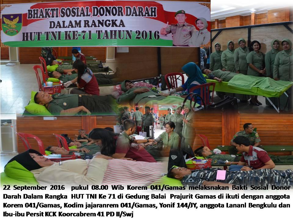BAKTI SOSIAL DONOR DARAH  DALAM HUT TNI KE 71