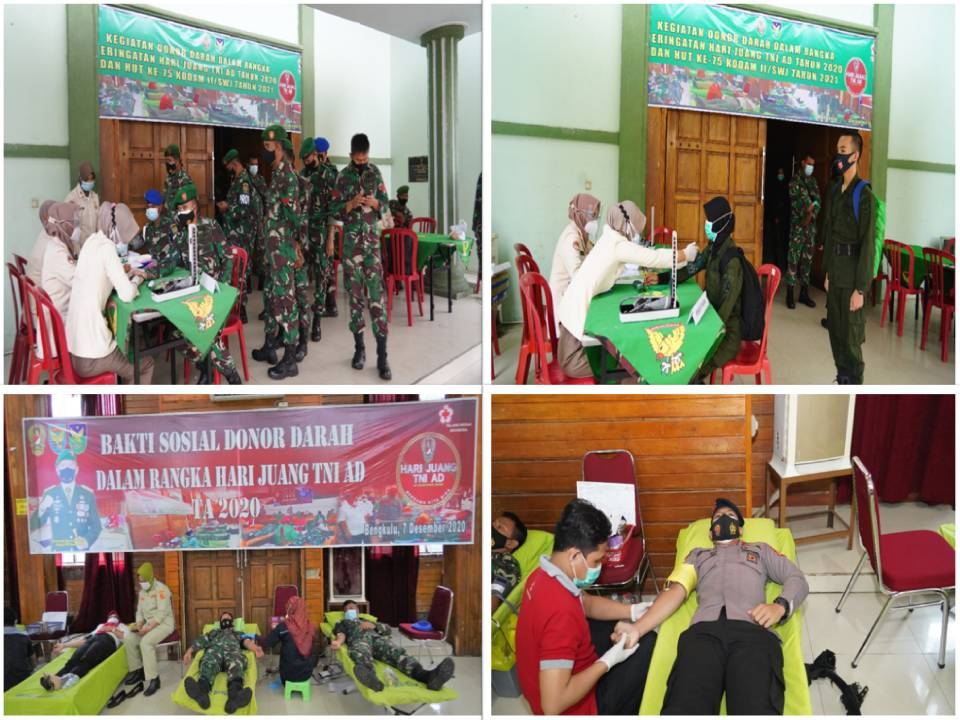 PERINGATI HARI JUANG TNI AD KE 75 TAHUN 2020, KOREM 041/GAMAS MENGGELAR BAKTI SOSIAL DONOR DARAH.